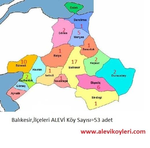 Alevi Köyleri Haritası (İllere göre) 1