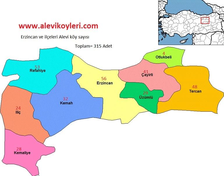 Alevi Köyleri Haritası (İllere göre) 13