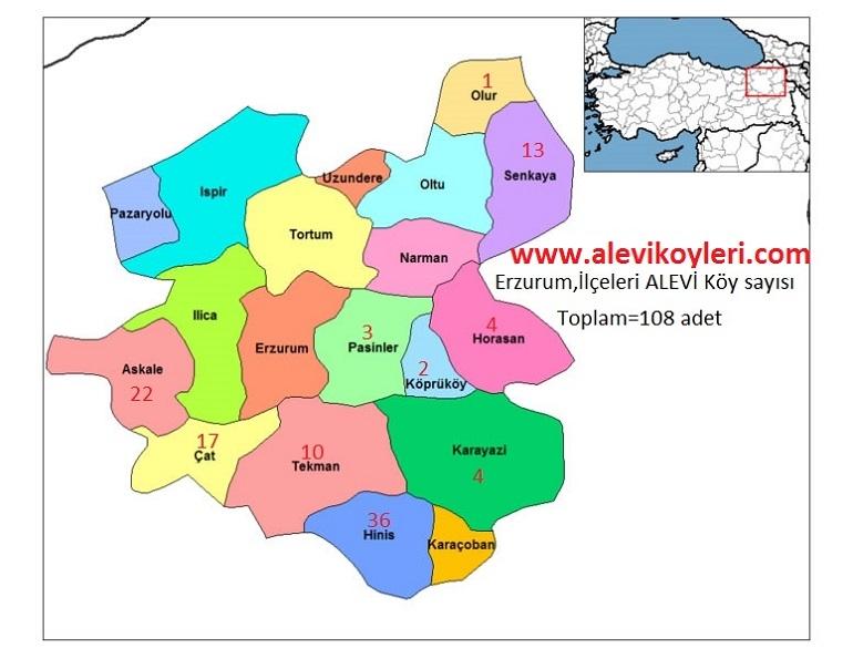 Alevi Köyleri Haritası (İllere göre) 15