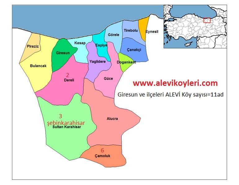 Alevi Köyleri Haritası (İllere göre) 18