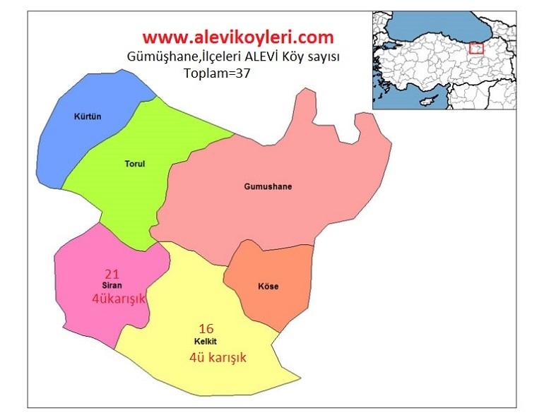 Alevi Köyleri Haritası (İllere göre) 19