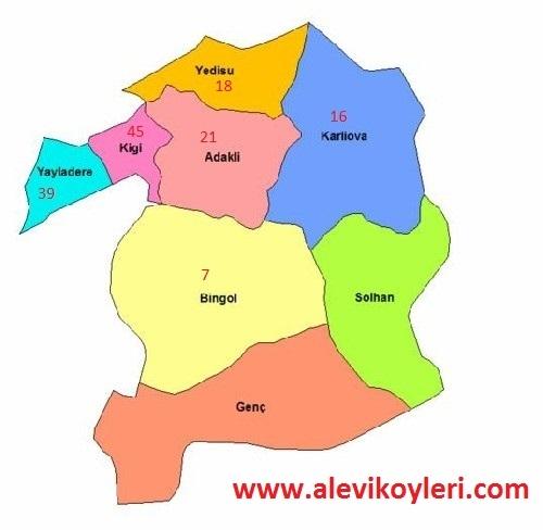 Alevi Köyleri Haritası (İllere göre) 2