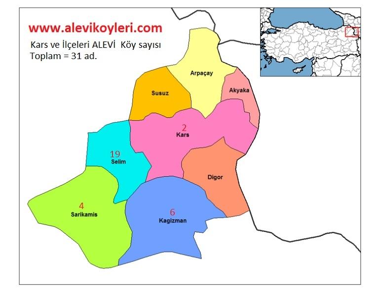 Alevi Köyleri Haritası (İllere göre) 23