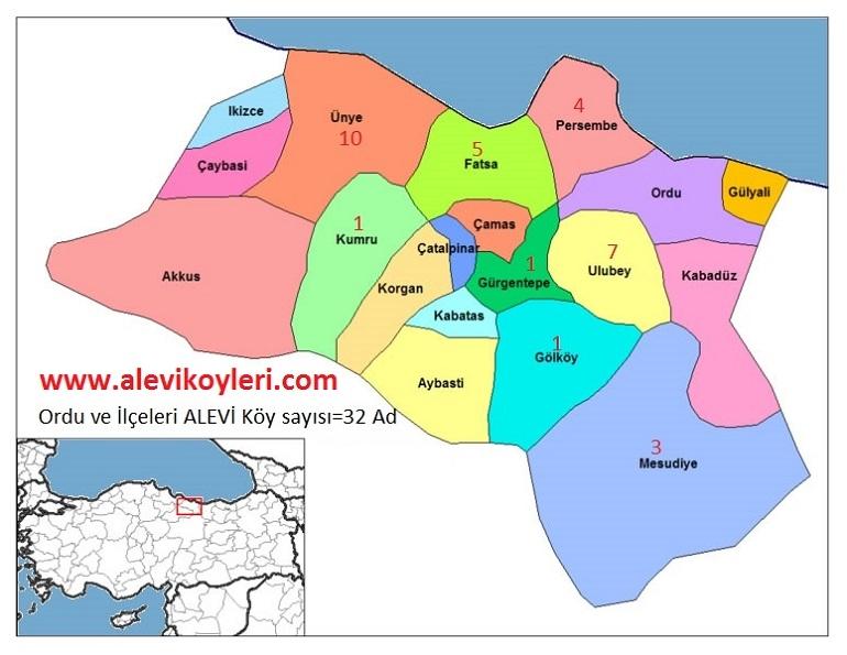 Alevi Köyleri Haritası (İllere göre) 28