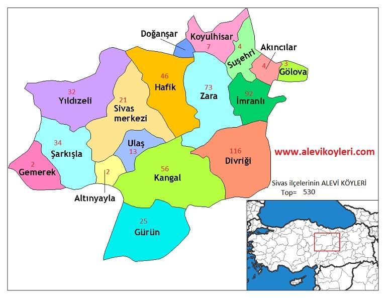 Alevi Köyleri Haritası (İllere göre) 29