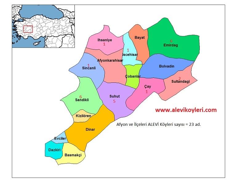 Alevi Köyleri Haritası (İllere göre) 3