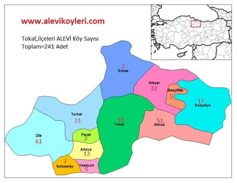 Alevi Köyleri Haritası (İllere göre) 30