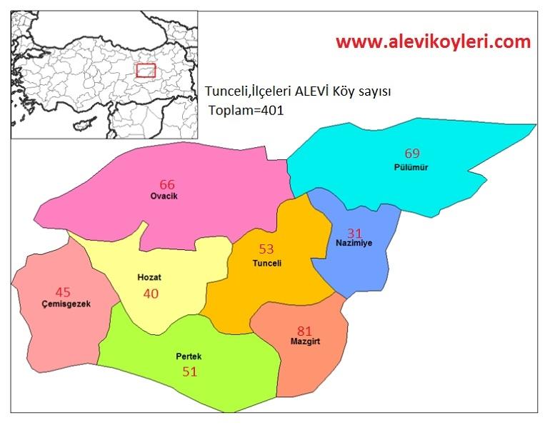 Alevi Köyleri Haritası (İllere göre) 31