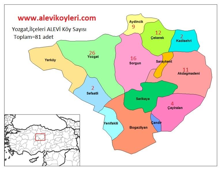 Alevi Köyleri Haritası (İllere göre) 32