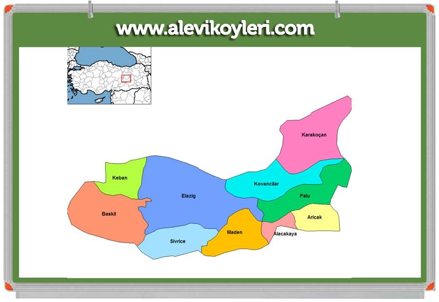 Alevi Köyleri Haritası (İllere göre) 53