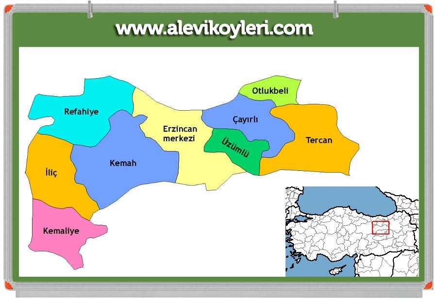 Alevi Köyleri Haritası (İllere göre) 54
