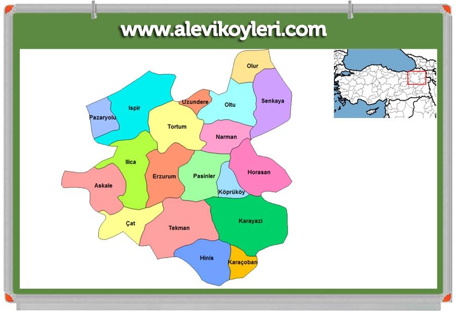 Alevi Köyleri Haritası (İllere göre) 55