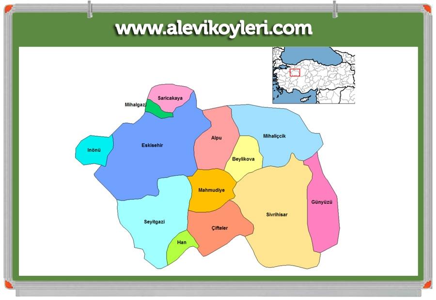 Alevi Köyleri Haritası (İllere göre) 56
