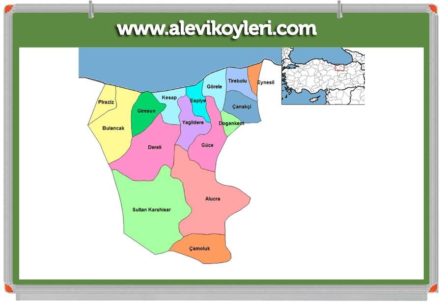 Alevi Köyleri Haritası (İllere göre) 58