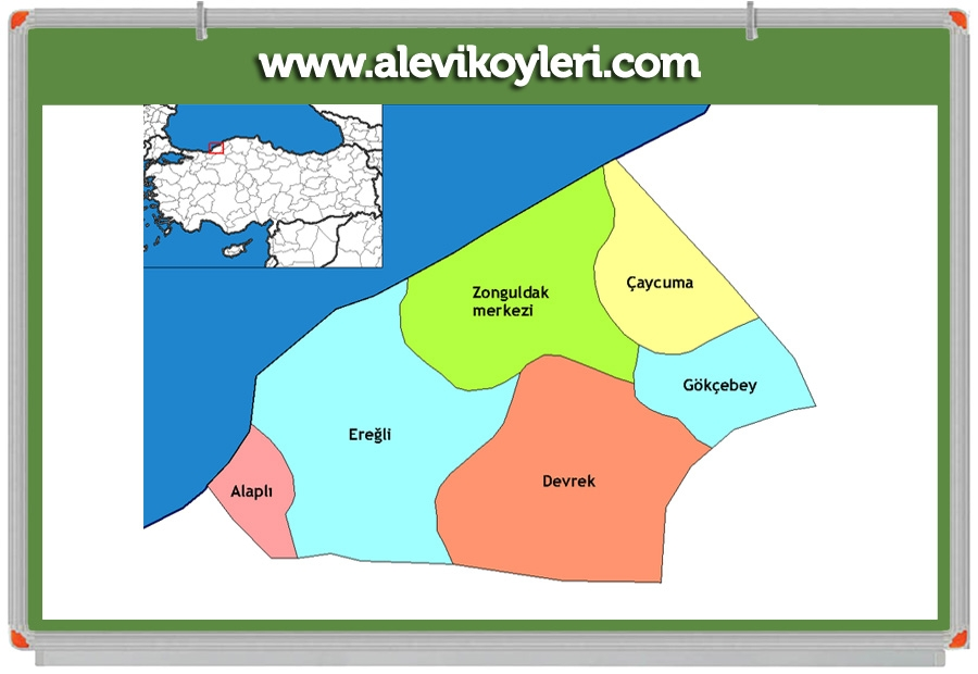 Alevi Köyleri Haritası (İllere göre) 61