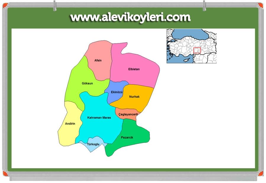 Alevi Köyleri Haritası (İllere göre) 63