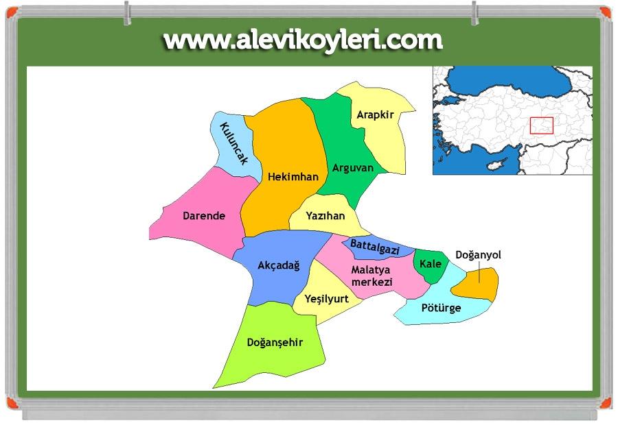 Alevi Köyleri Haritası (İllere göre) 66