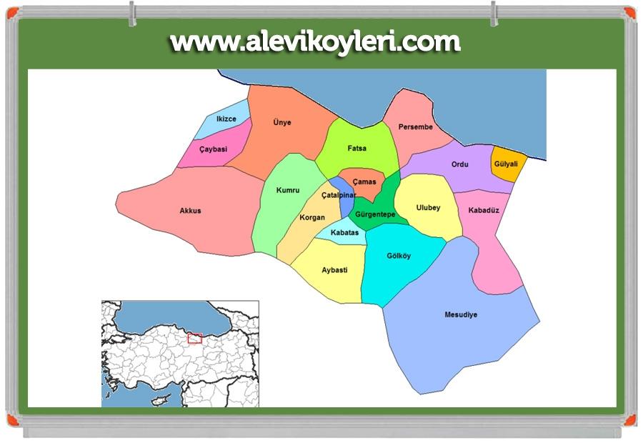 Alevi Köyleri Haritası (İllere göre) 69