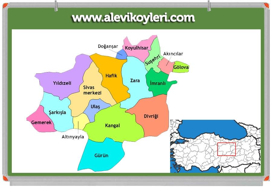 Alevi Köyleri Haritası (İllere göre) 70