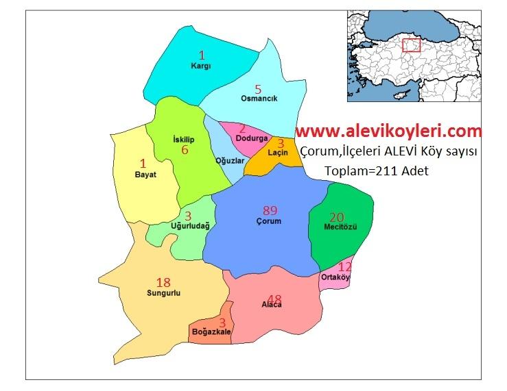 Alevi Köyleri Haritası (İllere göre) 8