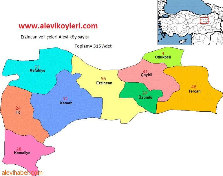 Erzincan Alevi Köyleri haritası
