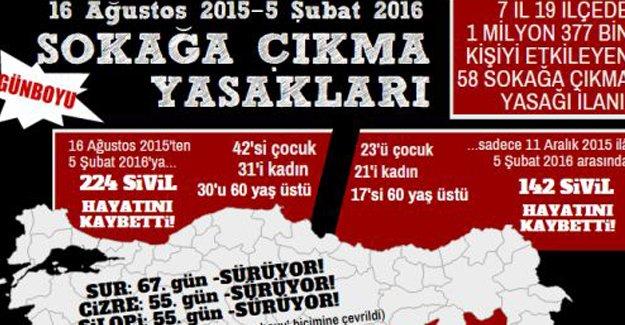 ''Sokağa çıkma yasaklarında 224 sivil öldürüldü''