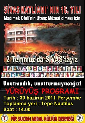 2 Temmuz 1993 Sivas Katliamının 18.Yılı Anma Etkinlikleri İstanbul Programı