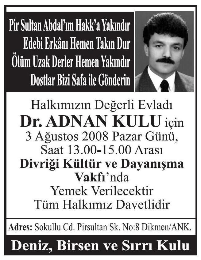 Dr. Adnan KULU 'nun Can Yemeği