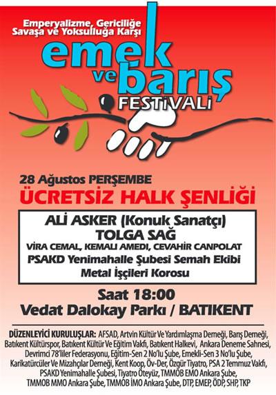 Batıkent'te 'Emek ve Barış Festivali'