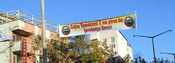 Yüksekova'da Kürtçe pankart gerginliği