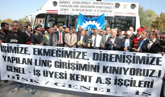 Kent A.Ş. işçilerine saldırıya emek örgütlerinden protesto