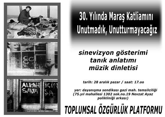"""Toplumsal Özgürlük Platformu """"Maraş""""ı Anacak"""