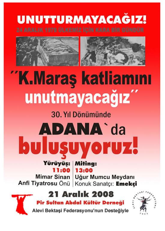 Aleviler Maraş Katliamının 30. Yılında Adana'da Mitingde