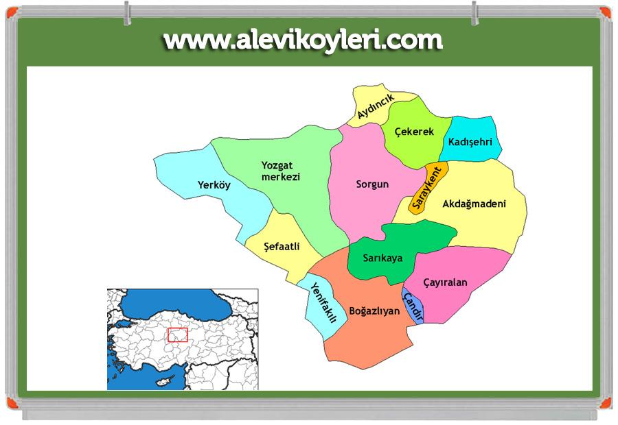 Yozgat Alevi Köyleri Haritası