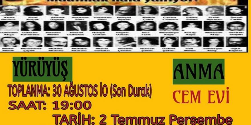 Ataşehir Cemevi, 2 Temmuz'da Sivas Katliamı'nda yaşamını yitirenleri anacak
