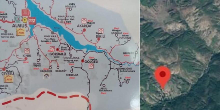 Alevi köyleri işaretlenip 'Alevi' yazıldı