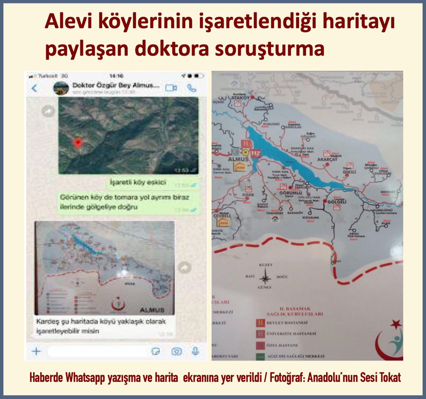 Alevi köylerinin işaretlendiği harita