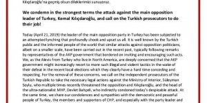 Ana Muhalefet Lideri, Kemal Kılıçdaroğlu'na yapılan saldırıyı şiddetle kınıyoruz, savcıları göreve davet ediyoruz!