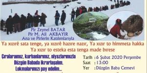 Düzgün Baba Cemevi'nde 6 Şubat'ta Xızır Cemi bağlanacak