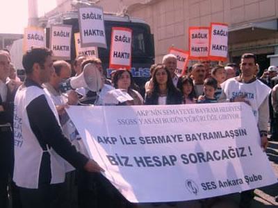 "SES ""AKP'nin sermayeye bayram hediyesi"" SSGSS'ye karşı eylemde"